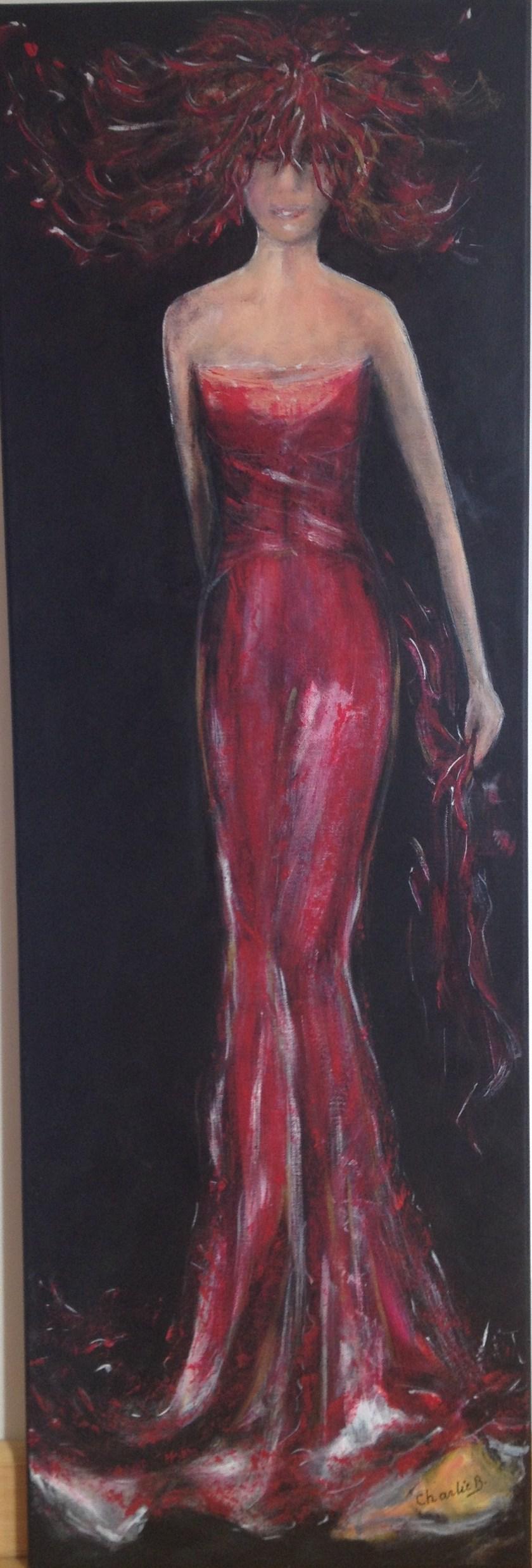 Habit rouge - acrilic toile 40x120