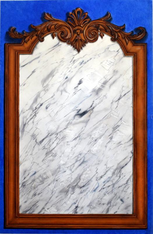 Marbre & dorures - huile sur papier 66x102cm